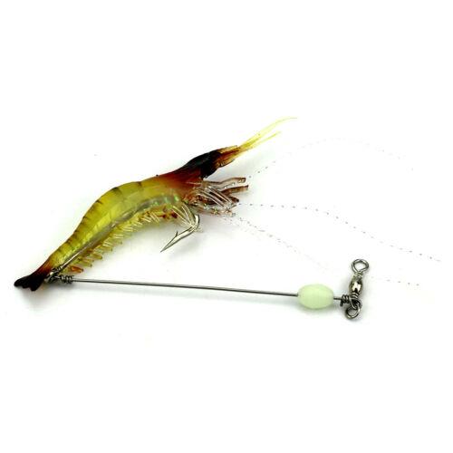 9PCS 7.5cm 6.6g Soft Shrimp Bait Luminous Plastic Prawn Fishing Lures Hook Bait