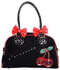 Banned Cherry Bomb Sugar Skull Candy Polka Dot Bow Handbag Rockabilly Black Red