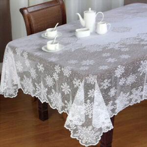 White Rectangle Lace Christmas Tablecloth Snowflake Wedding Party 59x89inch Ebay