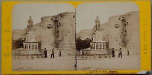 Estatua-Del-Rey-Rene-Angers-Francia-Foto-Estereo-Vintage-Albumina-c1870