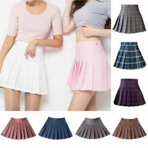 16e0d39d67 Image is loading Women-Tennis-High-Waist-Plaid-Skirt-Flared-Pleated-