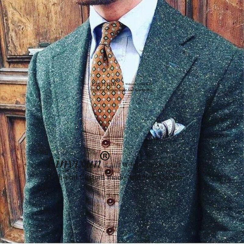 Green Men Suits Tweed Notch Lapel Blazer Houndstooth Coats Jacket Wedding Formal