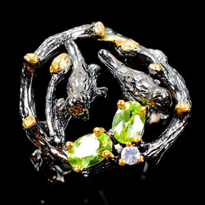 Unique-Natural-Peridot-925-Sterling-Silver-Ring-Size-9-R106114