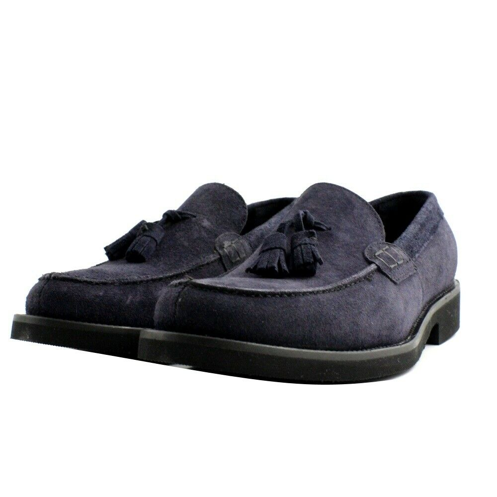 Shoes Moccasins Elegant Casual Veni Man Suede Blue Scuro. Made IN Italy