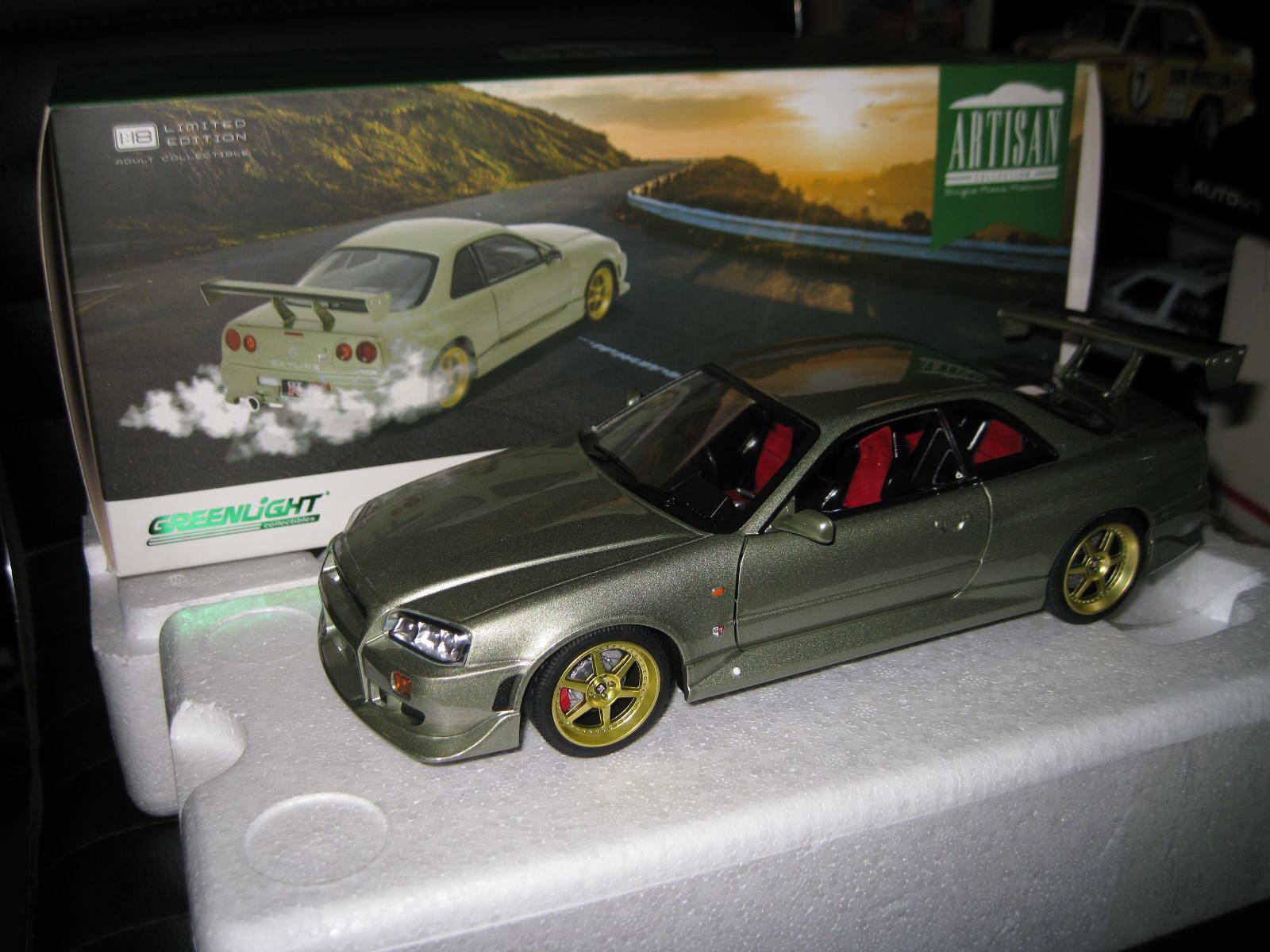 1 18 GREENLIGHT ARTISAN 1999 NISSAN SKYLINE GT-R R34 LIGHT GREEN LTD ED