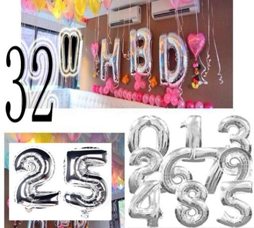 """32/"""" INCH Large Foil Number//Age HBD Banner Balloons Birthday//Wedding Party Decor"""