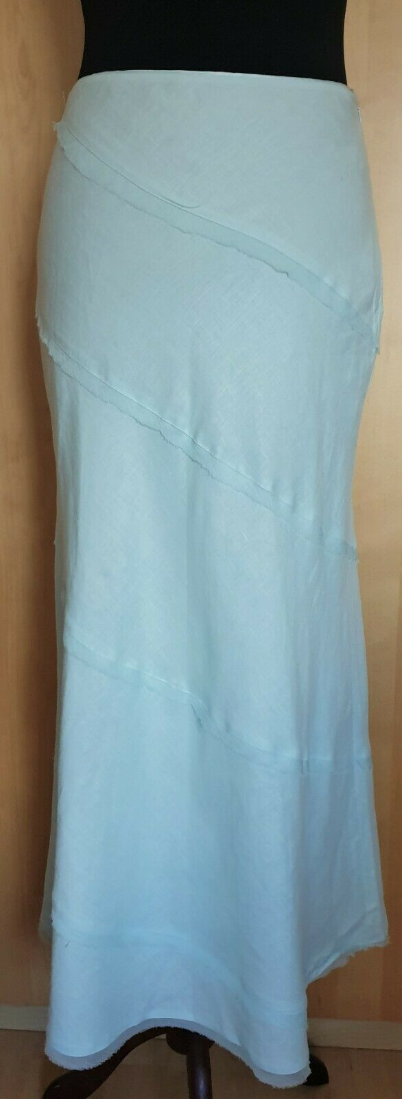 New Monsoon Aqua Grün 100% Linen Silk Trim Midi Long Skirt Größe 8 UK