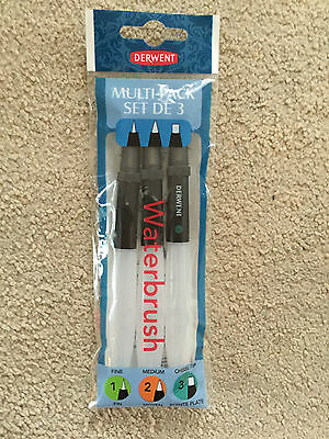derwent multi-pack set de 3 waterbrush,new