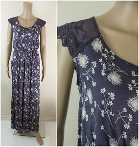 ex-M-amp-S-Dress-Marks-amp-Spencer-Floral-Lace-Sleeve-Maxi-Summer-Holiday-Dress