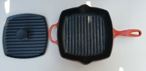 "Le Creuset Square Cast Iron #26 Enameled 10"" Red Grill Pan Skillet PANINI PRESS"