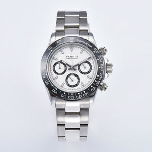 40mm-PARNIS-Men-039-s-Watch-Full-Chronograph-Sapphire-Crystal-white-dial-glowing