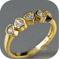 18k yellow gold gp women's wedding dress made with SWAROVSKI crystal Ring heart