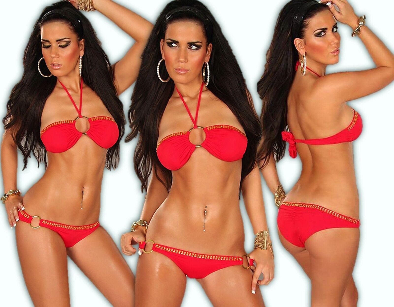 Neckholder Bikini Bandeau Push-Up Strass Tankini Brazil Monokini Badeanzug Rot S