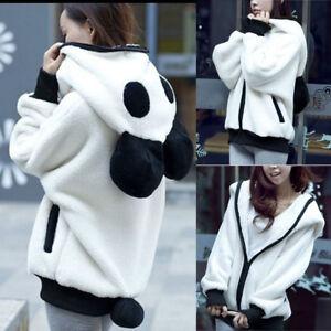 566657dcb733 Mignon Ours Oreille Panda Hiver Chaud Capuche Manteau Femme Veste ...