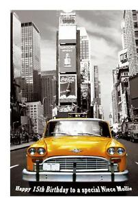 Image Is Loading New York Yellow Taxi A5 Birthday Card Personalised