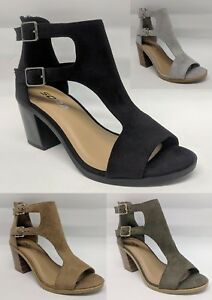 Cutout Side Suede Straps Open Toe Mid
