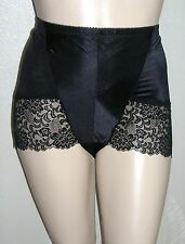 J NEW Vintage-Look Black Lace Satin Control Panty Girdle Shorts Pin-Up 40W 5X