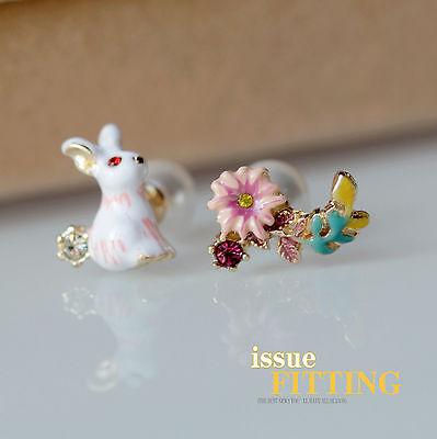 Ohrringe Mode Stecker Weiß Grün Rosa Gelb Emaille Kaninchen Blume Niedlich L2
