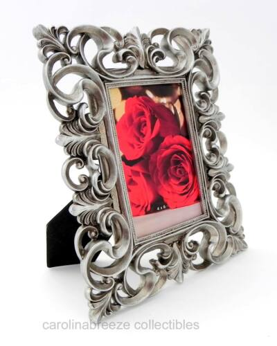 """Photo Frame Delicate Ribbony Scrolls With Leafy Accents Antiqued Silver 4/""""x6/"""""""