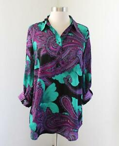 Ann Taylor Teal Green Purple Floral Paisley Print Popover