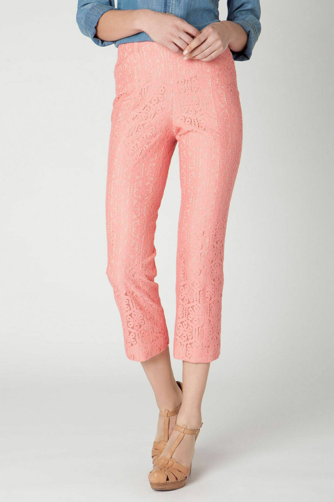 Anthropologie Pants Trousers Youghal Crops Lace Cropped Corey Lynn Calter, Sz 12