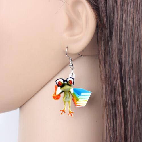 Acrylique Anime professeur Grenouille boucles d/'oreilles Goutte Dangle Animal Bijoux pour femmes Charms