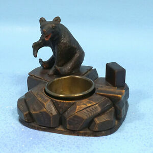 Antique-Swiss-Black-Forest-Wood-Carving-PIPE-MATCHBOX-CIGAR-HOLDER-ASHTRAY-BEAR