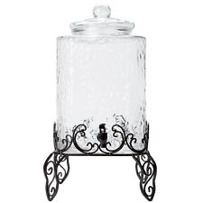 5 Gallon Glass Beverage Dispenser with Metal Stand