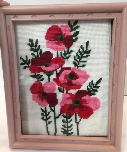 Vintage Crewel Needlepoint Embroidery Framed Wall Art Poppies Red Pink Flowers