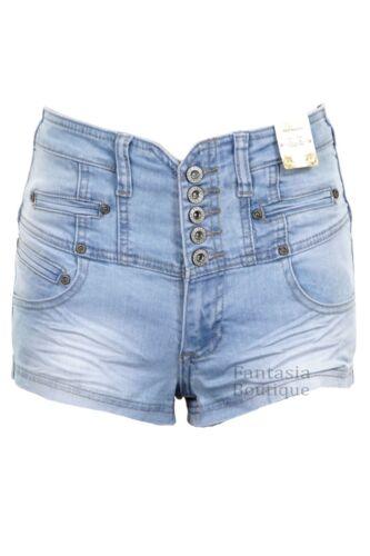 Damen Hoher Bund Niedrig Sitzende Denim Blau Azteken Tasche Verblichen Hotpants