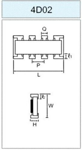 4,7 K Ohm 4K7 x 4 Rete Resistiva Y SMD 4D02 Royal Ohm TCR 200ppm//°C 100 pezzi