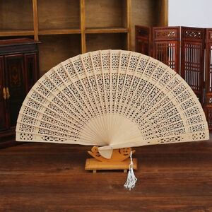 Flower-Carved-Hollow-Party-Wedding-Bamboo-Folding-Fan-Chinese-Style-Wooden