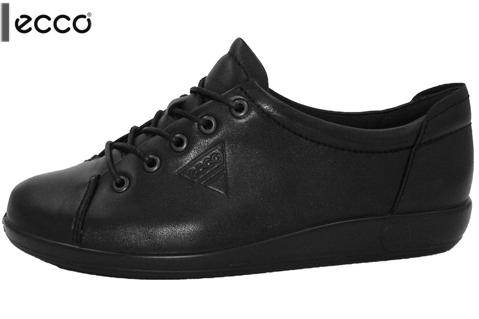 ECCO Soft 2.0 Damen Sneaker Schwarz Echt Leder Schuhe 20650356723