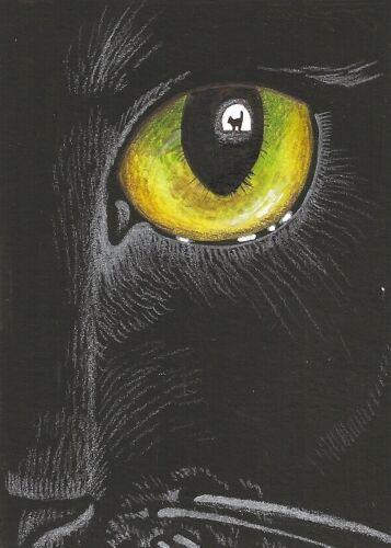5X7 PRINT OF PAINTING RYTA HALLOWEEN BLACK CAT FINE ART HAUNTED GOTHIC SURREAL