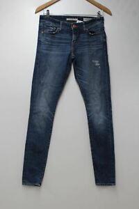 Levi-039-s-Damen-711-SKINNY-blau-used-Stretch-Denim-Mid-Rise-Jeans-w28