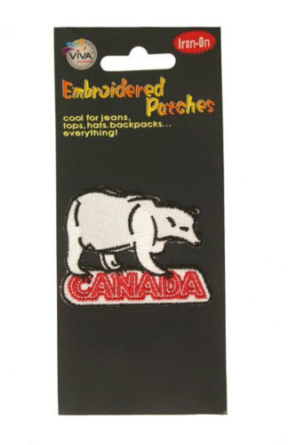 CANADA POLAR BEAR WITH WORD IRON-ON PATCH CREST BADGE . NEW