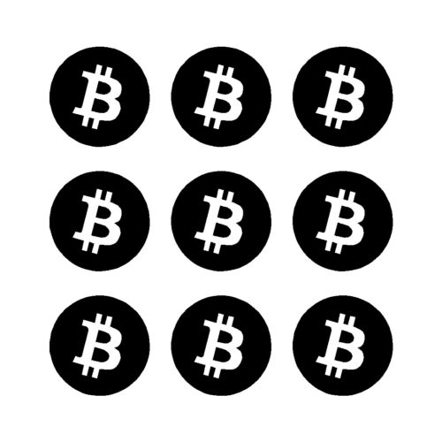 Bitcoin Cryptocurrency Symbol Vinyl Decals Phone Laptop Small Stickers Set of 9