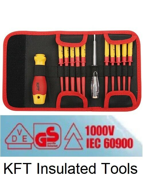 KFT INSULATED 1000V 12pc Screw Drive Set Europe Standard Cert High Quality