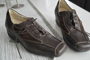 WALDLAUFER-Damen-Comfort-Schuhe-Schnuerschuhe-Leder-Einlage-braun-Gr-6-H-39-5-NEU