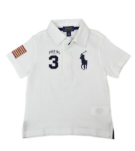 1c62d9182 Polo Ralph Lauren Boys Kids White Blue USA Big Pony Polo Shirt S ...