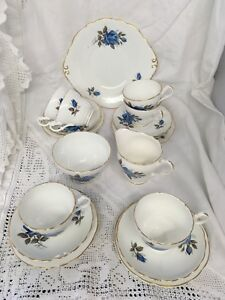 Vintage-Princess-Tea-Set-For-Six-Blue-Roses-Trios-Jug-Bowl-Cake-Plate