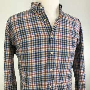 PETER-MILLAR-GINGHAM-CHECK-PLAID-LONG-SLEEVE-BUTTON-DOWN-SHIRT-MENS-SIZE-XL