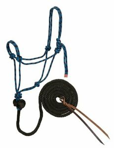 Weaver-Leather-Diamond-Braid-Rope-Halter-and-Lead-Blue-and-Black