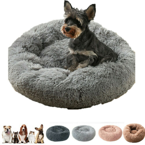 Round-Pet-Dog-Cat-Calming-Bed-Comfy-Shag-Warm-Fluffy-Bed-Nest-Donut-Mattress-Pad