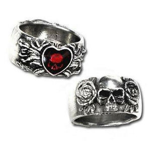 GENUINE-Alchemy-Gothic-Ring-Broken-Heart-Ladies-Men-039-s-Skull-Fashion