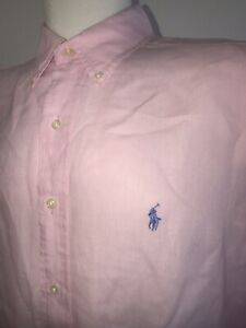 RALPH-LAUREN-Classic-Fit-PINK-100-Linen-MEN-039-S-XL-BUTTON-DOWN-Short-Sleeve-SHIRT
