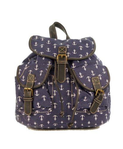 Damen Mädchen Freizeit Rucksack Cityrucksack Schultertasche Anker Backpack Blau