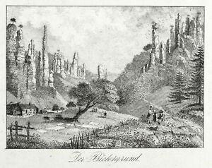 Brillant Sächsische Suisse-bielatal-hercule Piliers-lithographie De 1840-afficher Le Titre D'origine