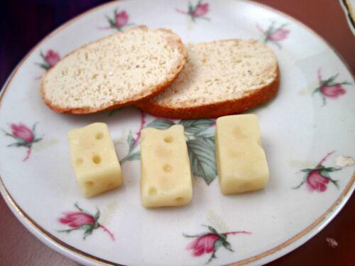 American Girl Doll Food Polymer Clay Miniature Handmade Swiss Cheese Slices