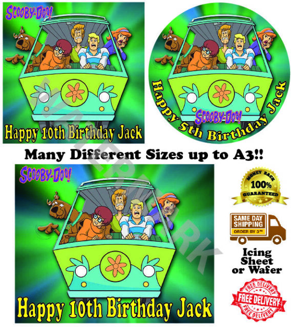"""SCOOBY DOO A4 EDIBLE ICING SHEET BIRTHDAY CAKE TOPPER 11/"""" x 8/"""" FREE POST"""